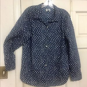 Polka dot graphic blue shirt is pure cotton.